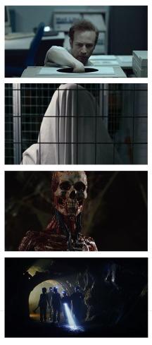 Still images from four short horror films.