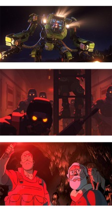 Still images from three science fiction horror short films from Love Death and Robots