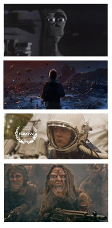 Still images from four short science fiction films.